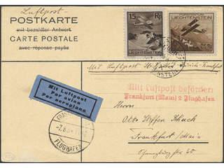 Liechtenstein. Air mail cover Michel 108, 109 , 15+25 rp on postcard sent from VADUZ …