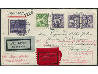 Sweden. Air mail cover Facit 143C, 145C, 232 , 5+3×10+50 öre on special delivery air …