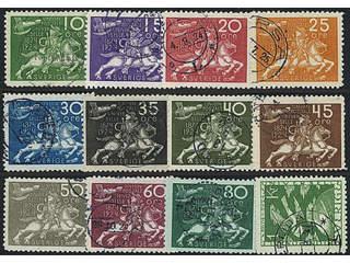 Sweden. Facit 211–23 used , SET of twelve stamps 10 öre–1kr incl. 10öre cx. Somewhat …