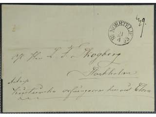 Sweden. B county. NORRTELJE 21.4.1853, arc postmark. Type 3 on cover sent to Stockholm. …