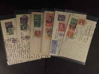 Sweden. Collection covers Oscar II–coil stamps. Ten postcards sent to France, all with …