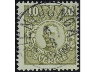 Sweden. Facit 90a used , 40 öre without watermark, olive. EXCELLENT cancellation …
