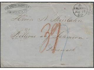 """Denmark. Prephilately. Folded letter dated """"14 August 1862"""" sent from Grangemouth, …"""