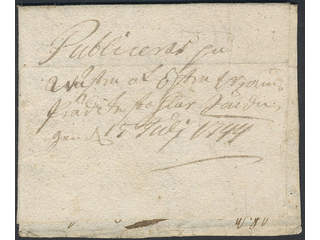 """Sweden. Crown post. Early letter dated """"Christianstad 3 July 1744""""."""