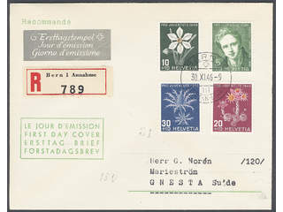 Switzerland. FDC Michel 475–78 , 1946 Pro Juventute. Addressed FDC with traces of …