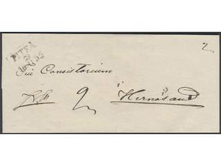 Sweden. BD county. PITEÅ 29.11.1855, rectangular postmark. Type 3 on cover sent during …