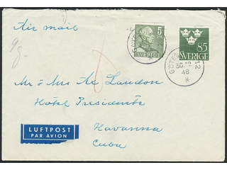 Sweden. Air mail cover Facit 271A, 291 , 5+85 öre on air mail cover sent from …