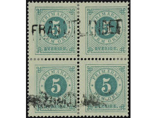 Sweden. Facit 43 used , 5 öre green in block of four. Cancelled with Finnish …