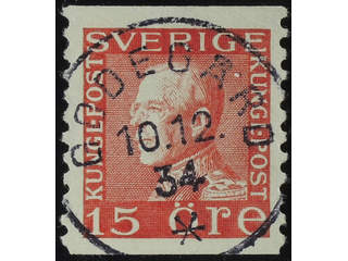 Sweden. Facit 177Ac used , 15 öre red, type II  vertical perf on white paper. EXCELLENT …