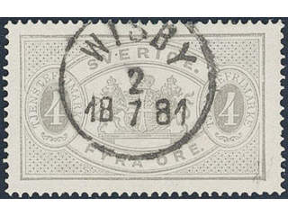 Sweden. Official Facit Tj2b used , 4 öre light grey, perf 14. Superb cancellation WISBY …