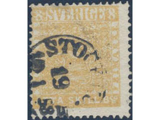 Sweden. Facit 4f used , 8 skill dull yellow-orange, dense background on medium thick …
