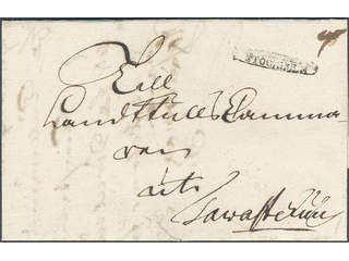 """Sweden. A county. STOCKHOLM, ribbon postmark. Type 2 on cover dated """"Stockholm d: 15 …"""