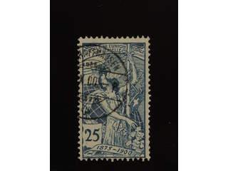 Switzerland. Michel 73 used , 1900 25th anniversary of UPU 25 c blue.