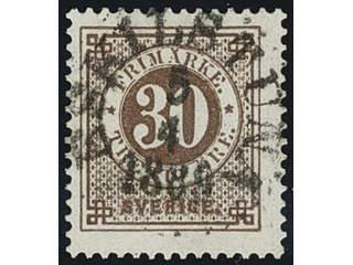 Sweden. Facit 47 used , 30 öre brown. EXCELLENT cancellation ESKILSTUNA 5.4.1889.