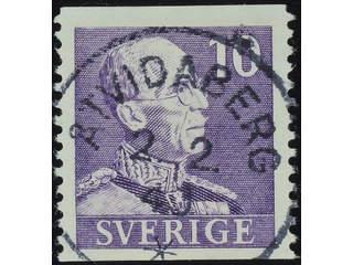 Sweden. Facit 269A used , 1939 Gustaf V small numerals 10 öre violet vertical perf. …