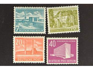 Germany Berlin. Michel 113, 121–23 ★★ , 1953 Buildings II 20 pf red and 1954 Buildings …