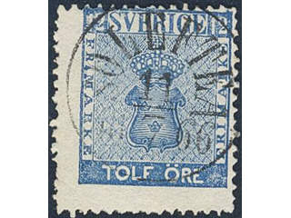 Sweden. Facit 9c2 used , 12 öre blue. EXCELLENT cancellation SOLLEFTEÅ 11.7.1866.