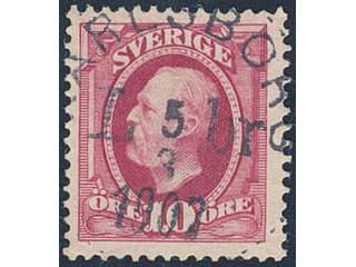 Sweden. Facit 54 used , 1891 Oscar II 10 öre red. EXCELLENT cancellation KARLSBORG LBR …