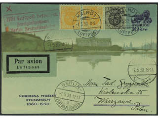 Sweden. Air mail cover Facit 71, 72, bKe35 , Postcard 10 öre additionally franked with …