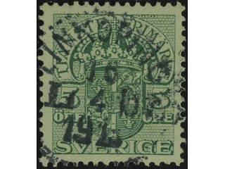 Sweden. Official Facit Tj30 used , 5 öre green,watermark crown. Superb cancellation …