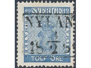 Sweden. Facit 9c1 used , 12 öre blue. EXCELLENT cancellation NYLAND 8.2.1859. Weakly …