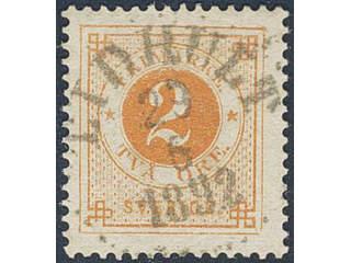 Sweden. Facit 40b used , 2 öre orange. EXCELLENT cancellation LIDHULT 29.6.1892. One …