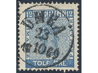 Sweden. Facit 9c3 used , 12 öre blue, perforation of 1865. Superb cancellation UMEÅ …