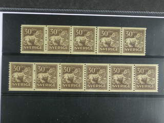 Sweden. Facit 148A ★★ , 30 öre brown in one strip of five and one strip of six. (2).