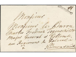"""Sweden. A county. STOCKHOLM, ribbon postmark. Type 1 on cover dated """"1724"""" by pen, sent …"""