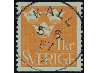 Sweden. Facit 294 used , 1939 Three Crowns 1 Kr orange. EXCELLENT cancellation KALL …