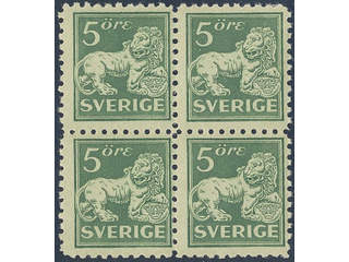 Sweden. Facit 140Ca ★★ , 5 öre green, type I, perf on four sides in block of four. …