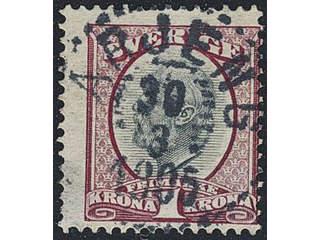 Sweden. Facit 60c–d used , 1903 Oscar II 1 Kr (dark) violetish carmine/grey. EXCELLENT …