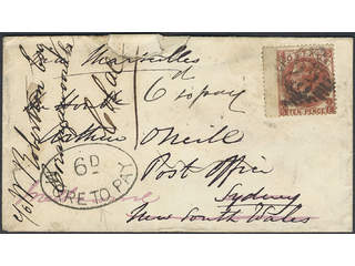 Britain. Michel 32 cover , 1867 Queen Victoria 10 d red-brown, watermark Spray of Rose …