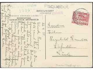 Sweden. Facit 235A. PORTUGAL. Portuguese cancellation FUNCHAL 23.ABR.35 and PAQUEBOT, …
