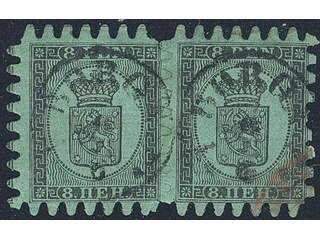 Finland. Facit 6v1C3 used , 1867 Coat-of-Arms Finnish values 8 p black on green ordinary …