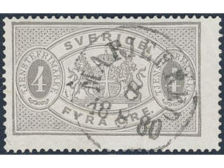 Sweden. Official Facit Tj2 used , 4 öre grey, perf 14. Superb cancellation MARIEFRED …