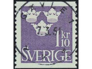 Sweden. Facit 296 used , 1948 Three Crowns 1.10 Kr violet. EXCELLENT cancellation GÄVLE …
