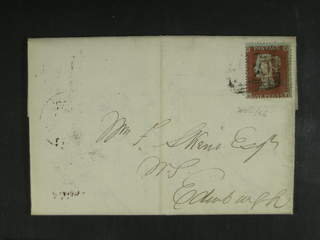 Britain. Michel 8 cover , 1854 Queen Victoria 1 d red-brown, watermark small crown on …
