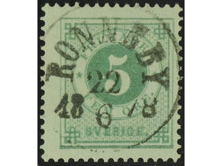 Sweden. Facit 30a used , 5 öre grey-green. EXCELLENT cancellation RONNEBY 22.6.1878.