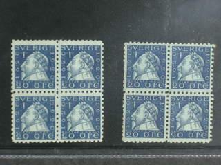 Sweden. Facit 152C ★★ , 1920 Gustav II Adolf 20 öre blue, perf on four sides in two …
