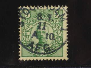 Sweden. Facit 75 used , 5 öre grön vm krona. Vackert exemplar med nästintill …