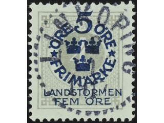 Sweden. Facit 107 used , 1916 Landstorm I 5+FEM / 4 öre grey. EXCELLENT cancellation …