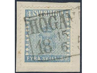 Sweden. Facit 2l on piece , 4 skill greenish blue, medium-thick paper, del. 14c. Superb …