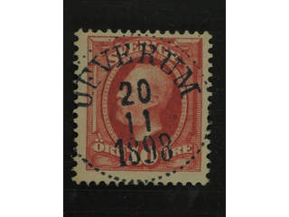 Sweden. Facit 54 used , 1891 Oscar II 10 öre red. EXCELLENT cancellation ÖFVERUM …