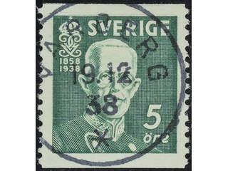 Sweden. Facit 266A used , 1938 80th Birthday of King Gustaf V 5 öre green vertical perf. …