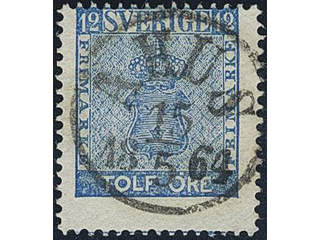 Sweden. Facit 9d2 v used , 12 öre light blue, heavily displaced perf. with part of …