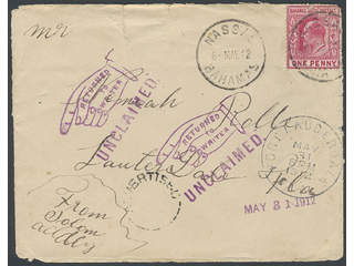 Bahamas. Michel 23 cover , One penny on cover to USA from NASSAU 6.5.12 and returned …