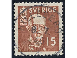 Sweden. Facit 267C used , 1938 80th Birthday of King Gustaf V 15 öre brown, perf on four …