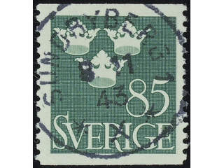 Sweden. Facit 291 used , 1939 Three Crowns 85 öre dull green. EXCELLENT cancellation …