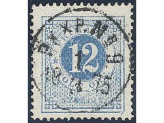 Sweden. Facit 21m used , 12 öre blue. EXCELLENT cancellation PKXP Nr 9 1.3.1875. One …